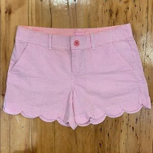 Lilly Pulitzer pink seersucker buttercup shorts